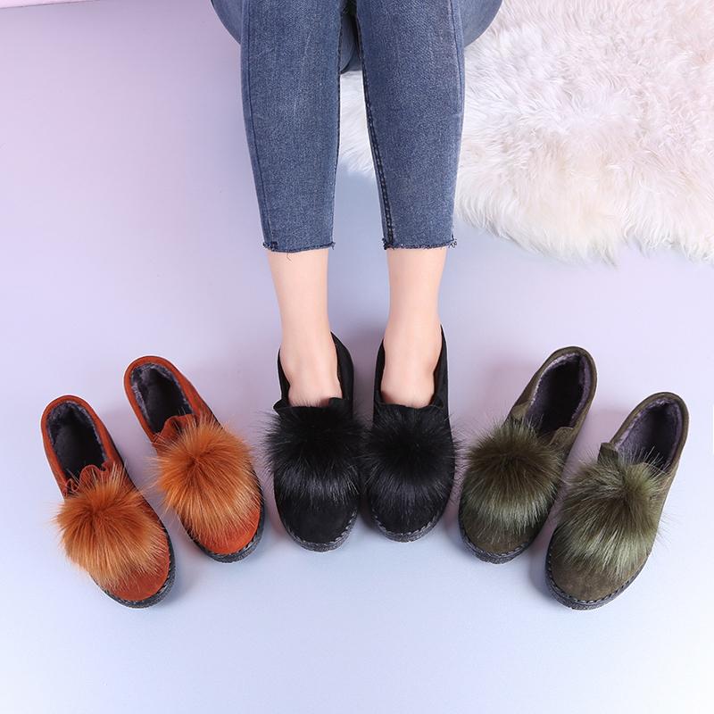 新款一脚蹬外穿加绒原宿风豆豆鞋女可爱