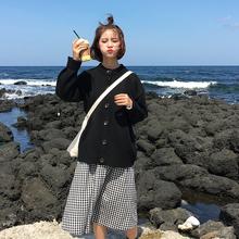秋冬女装韩版新款单排扣百搭宽松学院纯色针织毛衣中长款开衫外套