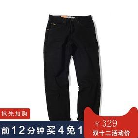 跨境 美国Lee/李牛仔裤 经典男士纯黑直筒牛仔裤男青年休闲长裤