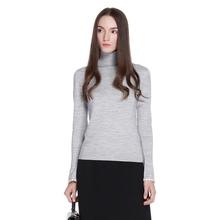 ochirly欧时力新女装高领针织滚边修身长袖套头羊毛衫1HJ4033050