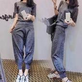 韩版2017夏季新款宽松纯色休闲运动套装百搭显瘦短袖两件套女装潮