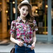 女装 学生外套 宽松学院风衬衣大码 纯棉格子衬衫 韩版 女短袖 夏季薄款
