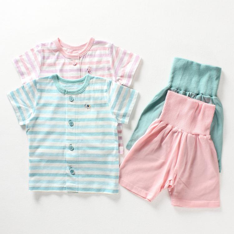 寶寶短褲嬰兒兒童內衣高腰護肚褲短袖夏裝套裝純棉