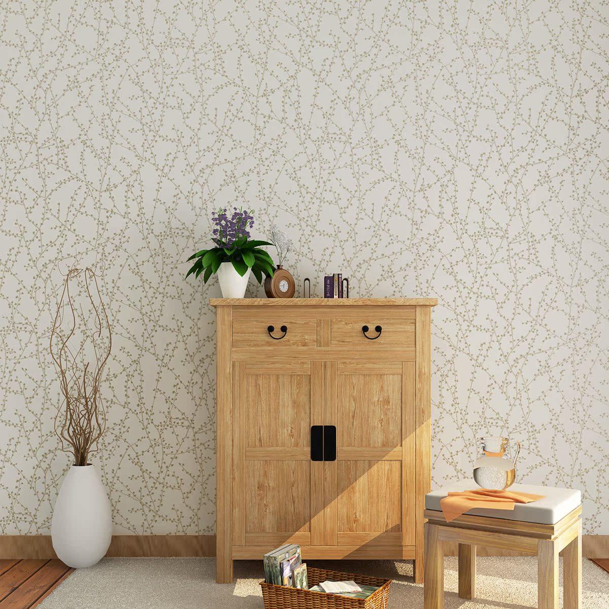 藤格先生 淡雅米灰色梅花图案壁纸现代新中式风格背景图片