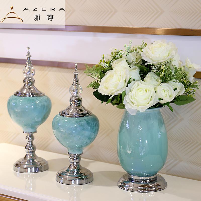欧式酒柜装饰品摆件家居饰品客厅电视柜玄关家装摆设花瓶假花餐桌