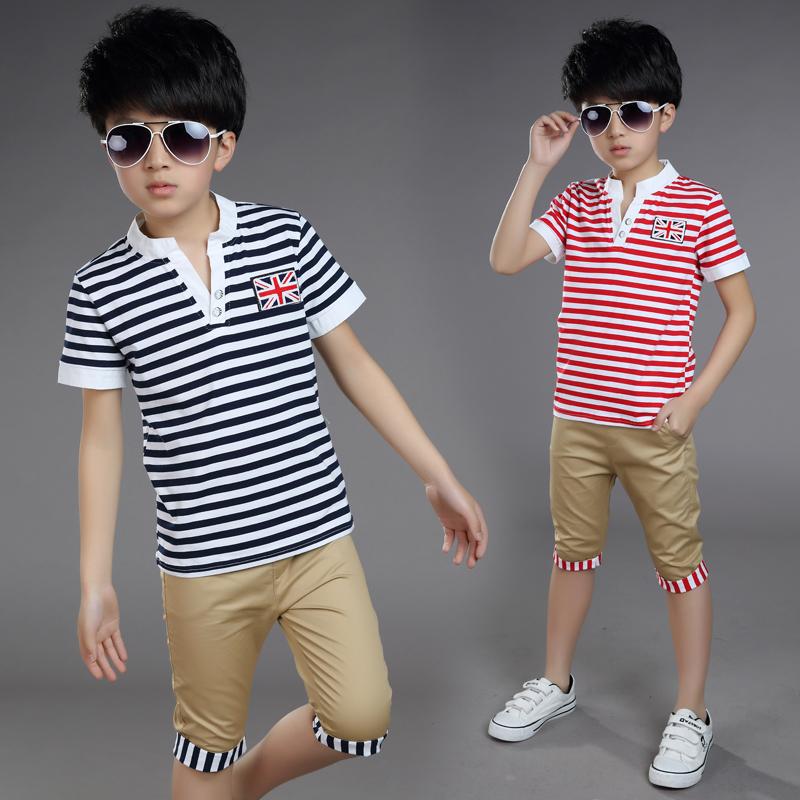 岁两件短裤套装 男孩儿童短袖条纹童装夏季