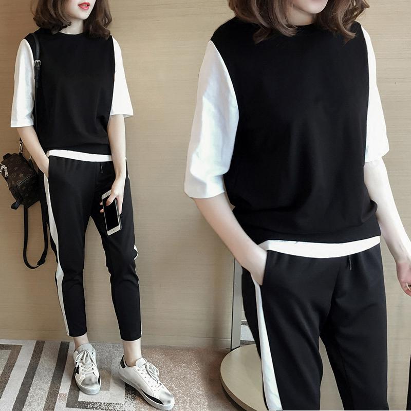 服显瘦休闲两件套跑步夏季时尚九分裤半袖女学生运动套装