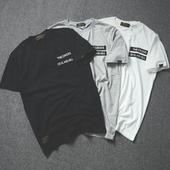 余文乐日系新款简约刺绣男士短袖T恤 陈冠希男军事风原创潮牌半袖