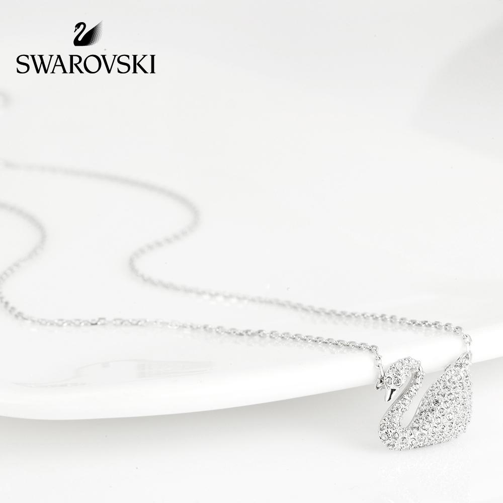 七夕礼物 施华洛世奇天鹅吊坠装饰项链白金色锁骨链项链女欧美