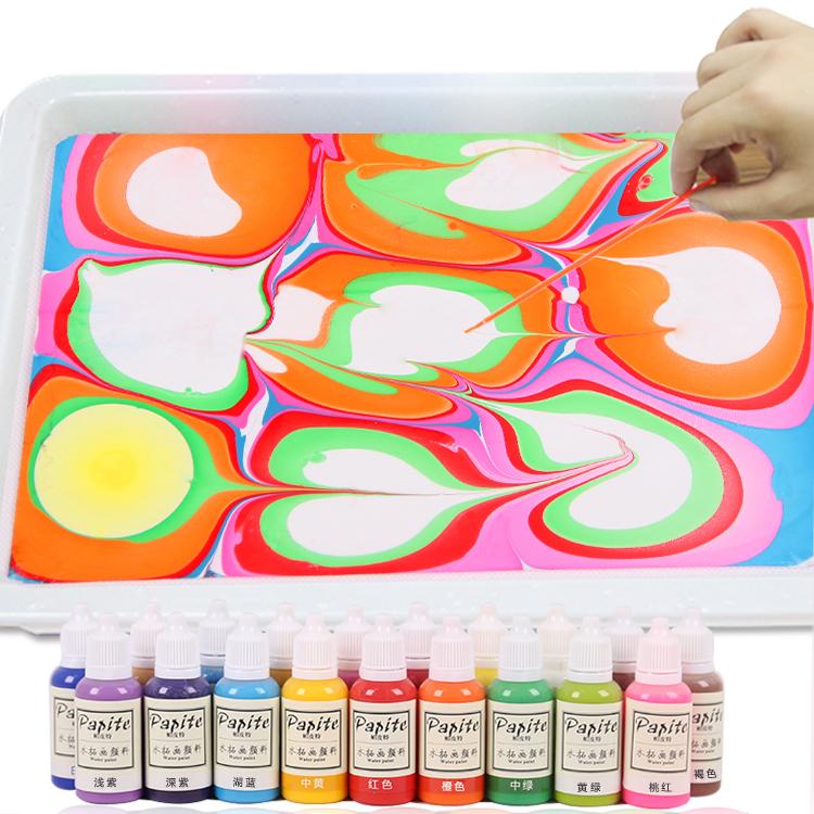 帕皮特湿拓画颜料套装儿童水拓画18色水上画画颜料套装成人浮水画图片