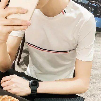 夏装男士短袖T恤潮男全棉圆领修身青少年学生半袖体恤男生上衣服