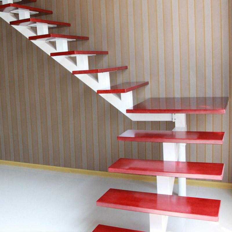室内楼梯阁楼钢木复式楼梯跃层斜梁旋转楼梯实木踏步板梯子复合板
