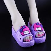 高跟厚底坡跟凉拖鞋 糖果色沙滩拖鞋 女士松糕鞋 女夏可爱韩版 新款