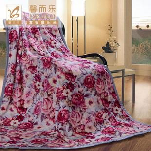 富安娜馨而乐秋冬家居毛毯时尚盖毯毯子田园风暖色时光