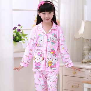 春秋季新款纯棉儿童睡衣男童女童中大童家居服套装长袖睡衣