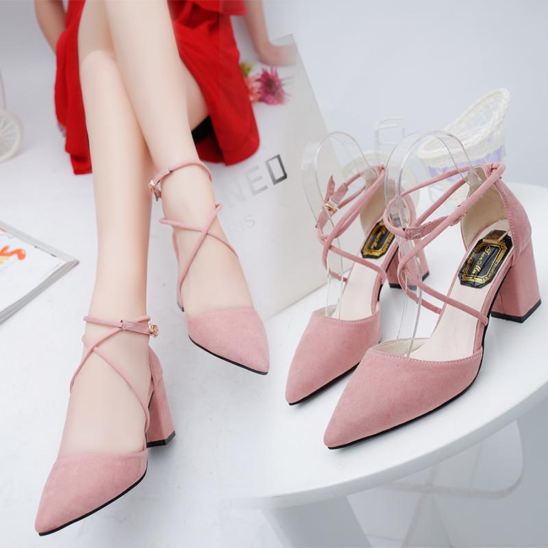 粉色春季中跟镂空绑带百搭绒面高跟鞋尖头单鞋