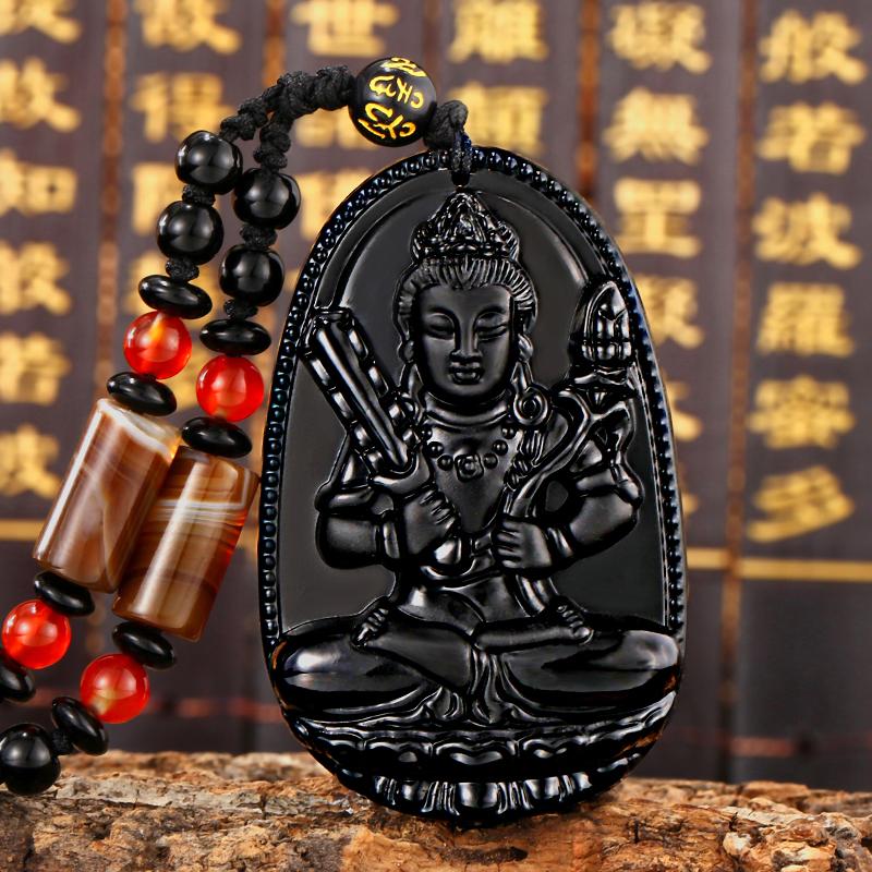 開光生肖守護神阿彌陀佛如來佛項鏈黑曜石八大