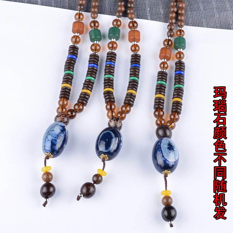 长款木质民族项链服饰饰品挂件文艺配饰复古毛衣男女