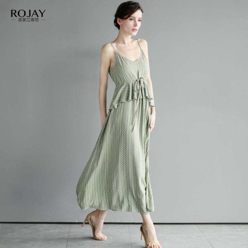条纹吊带裙夏小清新 吊带长裙夏女 连衣裙长款夏季2017新款女过膝