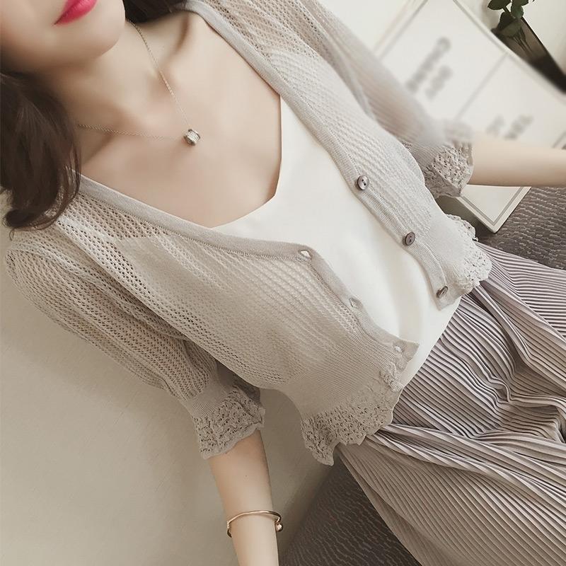 短袖女薄款衣外搭针织蕾丝开衫防晒镂空外套空调夏装