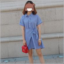 百家好梦乡2017夏季新款韩版条纹高腰中长款短袖连衣裙女MROP421C