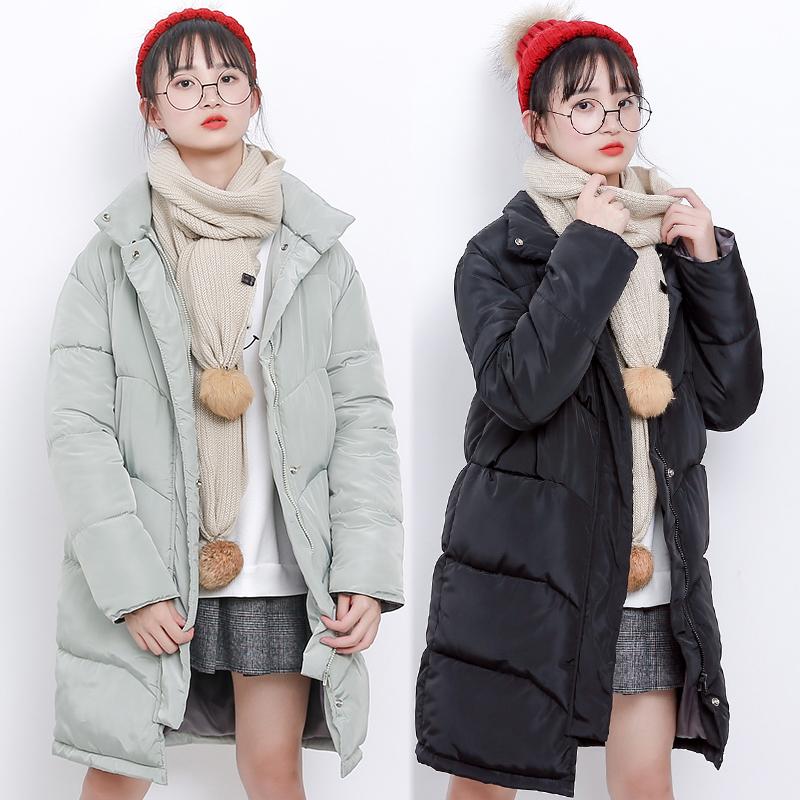 冬季棉服女中长款加厚2017新款宽松棉衣女纯色外套面包服女大码
