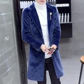 青年个性男士风衣韩版潮流外套男装冬季中长款大衣帅气修身款衣服