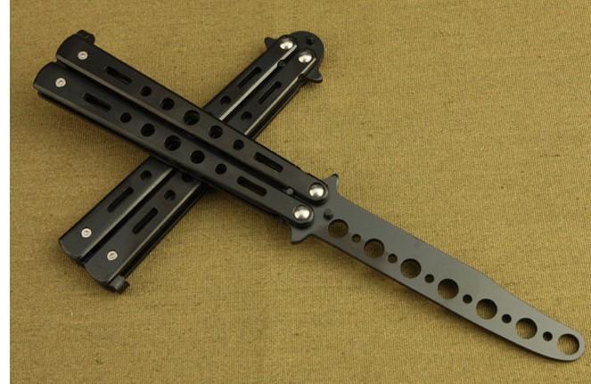 美国 入门级 蝴蝶刀防身用品练习不锈钢安全玩酷练习刀 未开刃刀