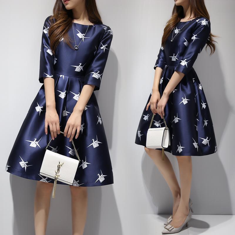 2016新款女装秋装韩版中长款圆领修身显瘦a字裙时尚印花连衣裙女
