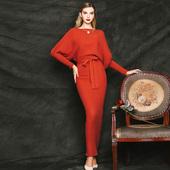 高腰系带长裙加厚毛衣裙优雅连衣裙9533 修身 复古蝙蝠袖 欧美秋冬装