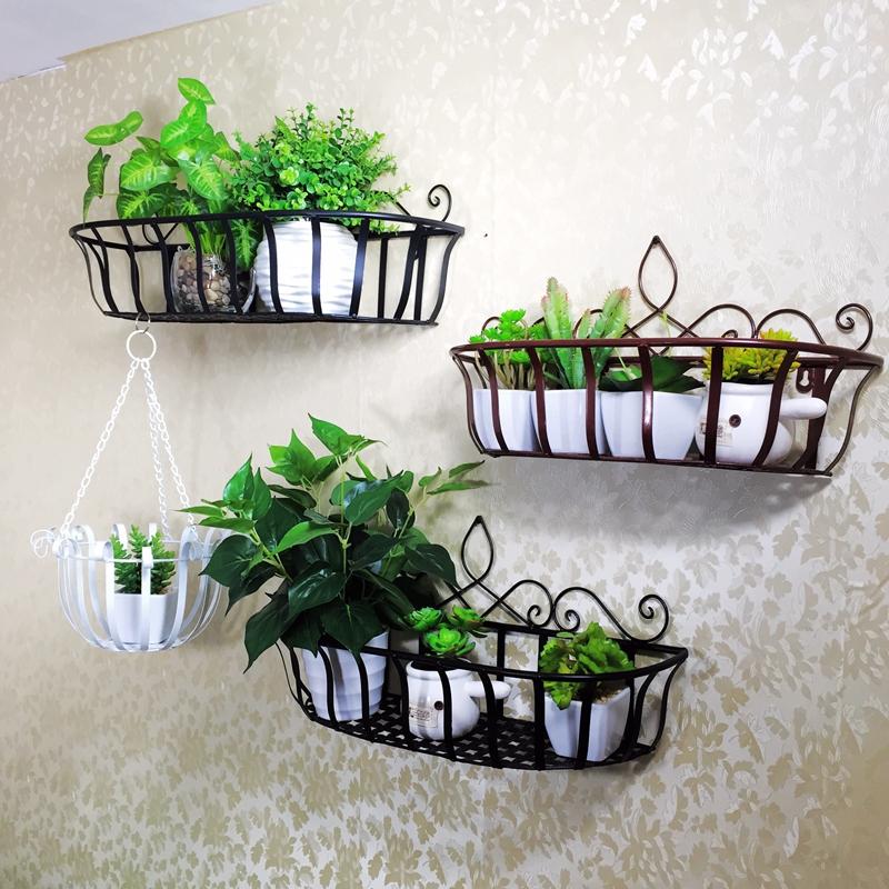 栏杆花架欧式田园墙壁置物架花盆