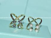 韩国进口珍珠镶钻十字交叉凹造型戒指指环时尚复古朋克欧美女饰品