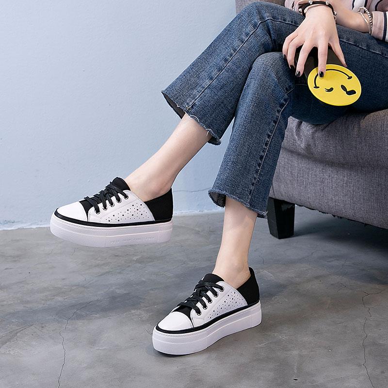 休閑小白鞋女厚底單鞋松糕鞋韓版鞋子女鞋鏤空夏季