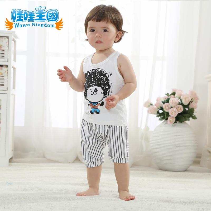 【包邮】韩版男童时尚背心套装