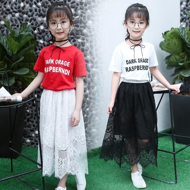 2017春夏装女童半身裙中大童高腰裙女装蕾丝裙百搭韩版儿童长裙子