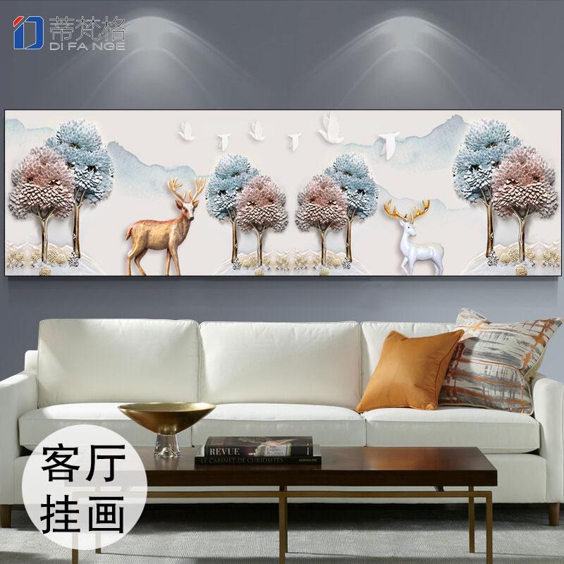 欧式客厅现代简约大气温馨卧室装饰画沙发背景墙画办公室麋鹿挂画图片