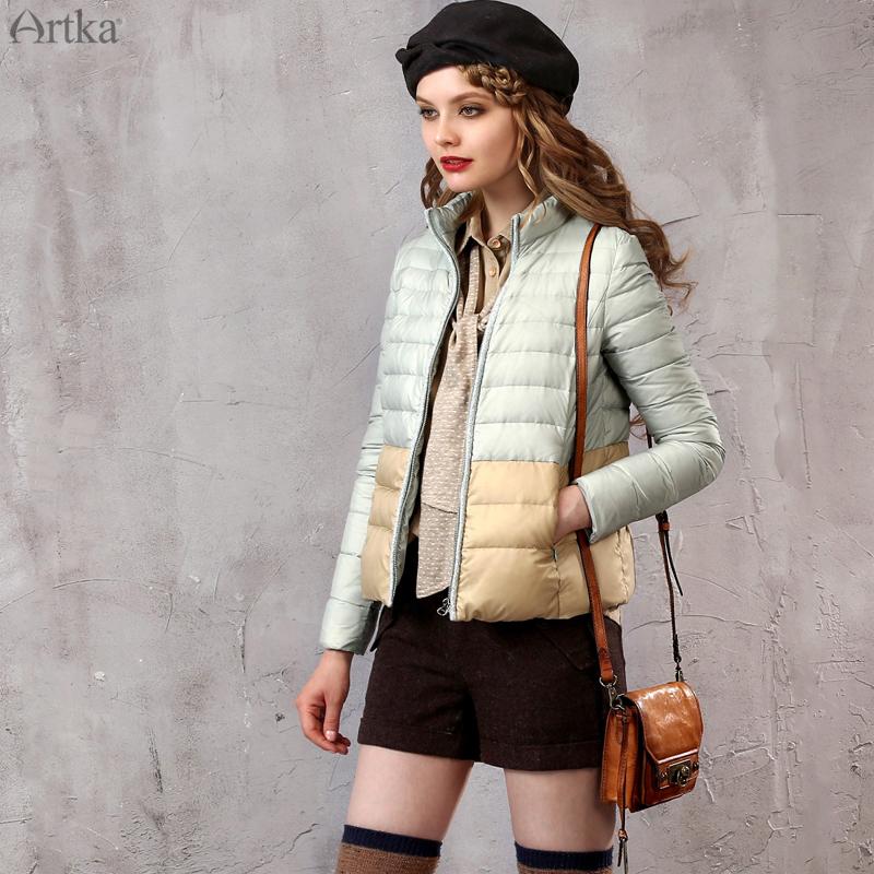 M阿卡90%白鸭绒修身防风保暖耐磨显瘦轻奢短款轻薄羽绒服D910051D