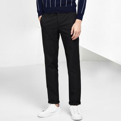 GXG男装 冬季新品修身时尚裤子男黑色休闲裤韩版长裤#64802011