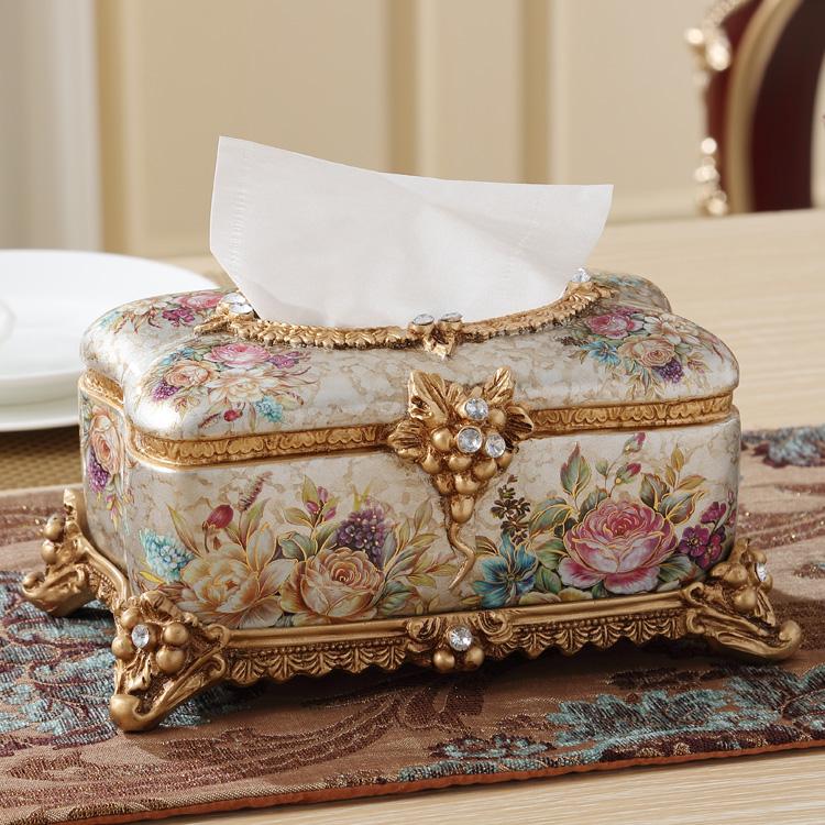 欧式纸巾盒 高档奢华复古家居饰品摆件树脂餐巾盒 时尚创意抽纸盒