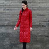 格拉玛浒城古娘冬季新款民族风刺绣立领长款宽松白鸭绒羽绒服女