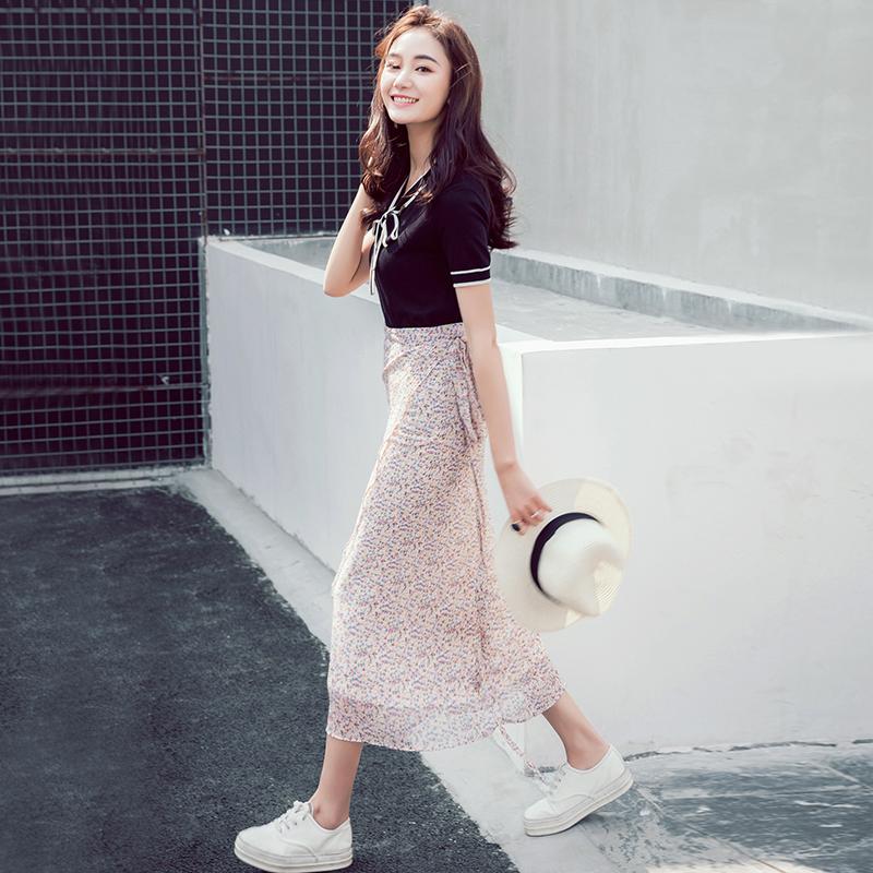 韩版小碎花清新高腰系带长裙半身夏季