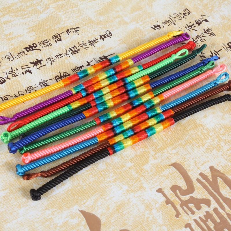 可选特价 保平安 色 10 佛珠念珠手链 手工编织 色 5 彩线螺旋纹