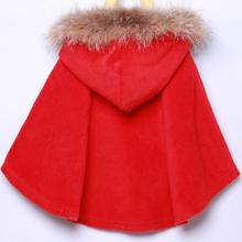 韩版 真毛领 儿童披风红色蝙蝠衫 斗篷毛呢外套2016秋冬新款 女童时尚