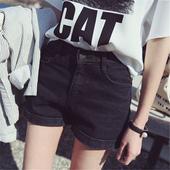 夏季高腰牛仔短裤女 宽松卷边牛仔短裤mm大码显瘦a字阔腿热裤学生