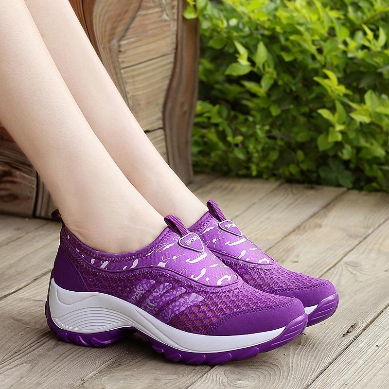 防滑徒步登山鞋夏季旅游鞋透氣越野鞋厚底戶外跑鞋增高