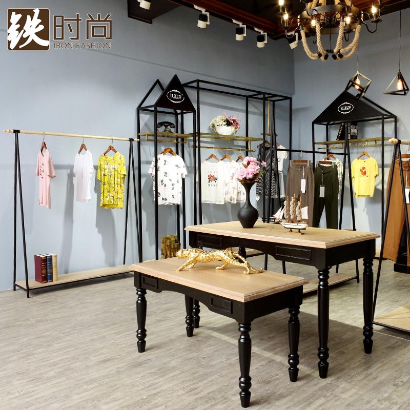 复古欧式铁艺服装店衣架展示架落地式时尚男女装实木货架侧挂上墙