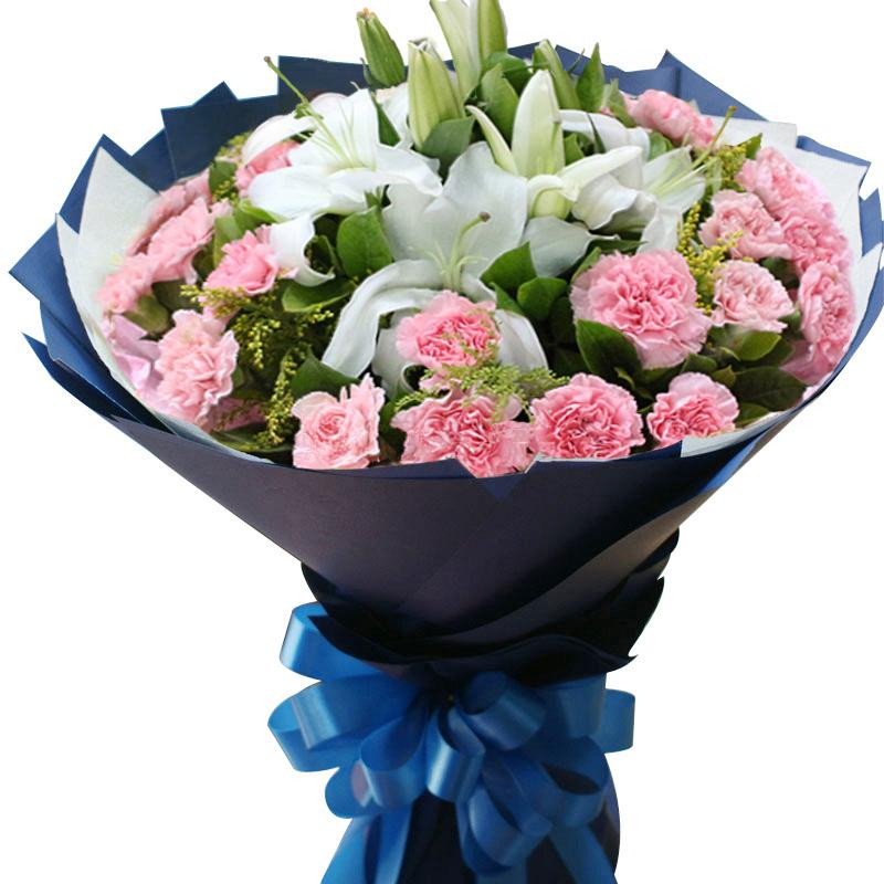 香水百合康乃馨鲜花速递同城送花全国合肥广州上海店