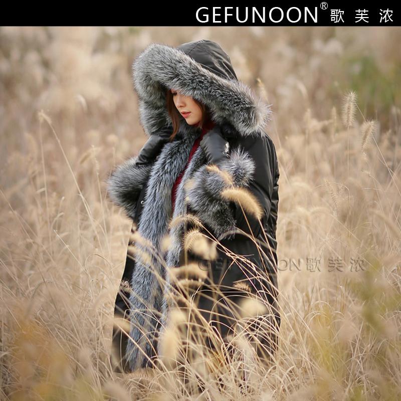 羽绒服大衣外套韩版大牌范中长款狐狸大毛领白鸭绒连帽保暖冬