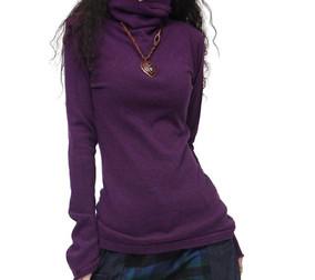秋冬新款女装堆堆领羊绒打底衫修身羊毛针织衫套头百搭喇叭袖毛衣