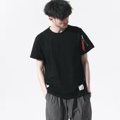 二十八间夏季纯色军事风MA1工装口袋短袖T恤男宽松上衣飘带体恤潮
